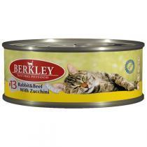 Berkley Rabbit Beef Zucchini Adult Cat №13 консервы для кошек с говядиной и кроликом 100 г (6 штук)