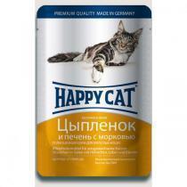 Happy Cat консервы для кошек с цыпленком и печенью 100 г (22 штуки)