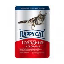 Happy Cat консервы для кошек с говядиной и бараниной 100 г (22 штуки)