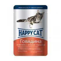 Happy Cat консервы для кошек с говядиной и печенью 100 г (22 штуки)