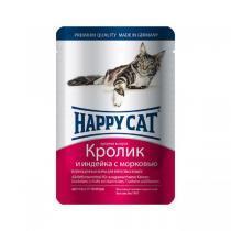 Happy Cat консервы для кошек с индейкой и кроликом 100 г (22 штуки)